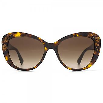 Versace Ornate Cateye Sunglasses In Havana
