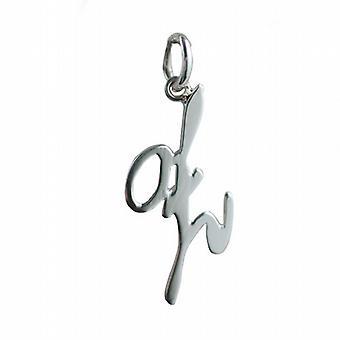 Silver 26x13mm plain Palace script Initial Z Pendant