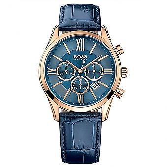 Hugo Boss 1513320 Blue Leather Chronograph Men's Watch