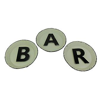 Black and White Pie Plate Style 3 Piece Bar Sign Set