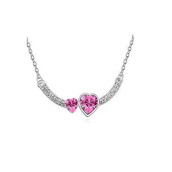 Womens dubbel hart Love roze tegenhanger van het kristal ketting