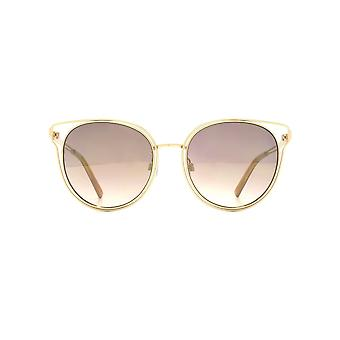 French Connection Metal Rim Cateye Sunglasses In Matte Light Gold