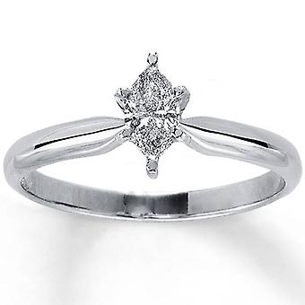 1/4ct Solitaire Marquise Diamond Engagement Ring 14K White Gold