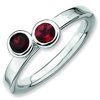 Sterling Silver Bezel Polished Rhodium-plated Stackable Expressions Db Round Garnet Ring - Ring Size: 5 to 10