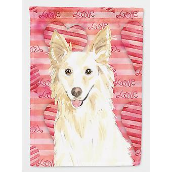Carolines Treasures  CK1745CHF Love a White Collie Flag Canvas House Size