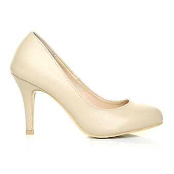 PEARL Nude PU Leather Stiletto High Heel Classic Court Shoes