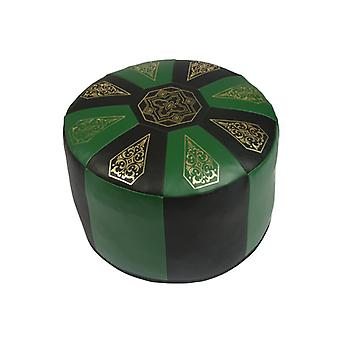 Seat cushion Pouffe Oriental pillow around synthetic leather Green/Black B 50 cm H 34 cm