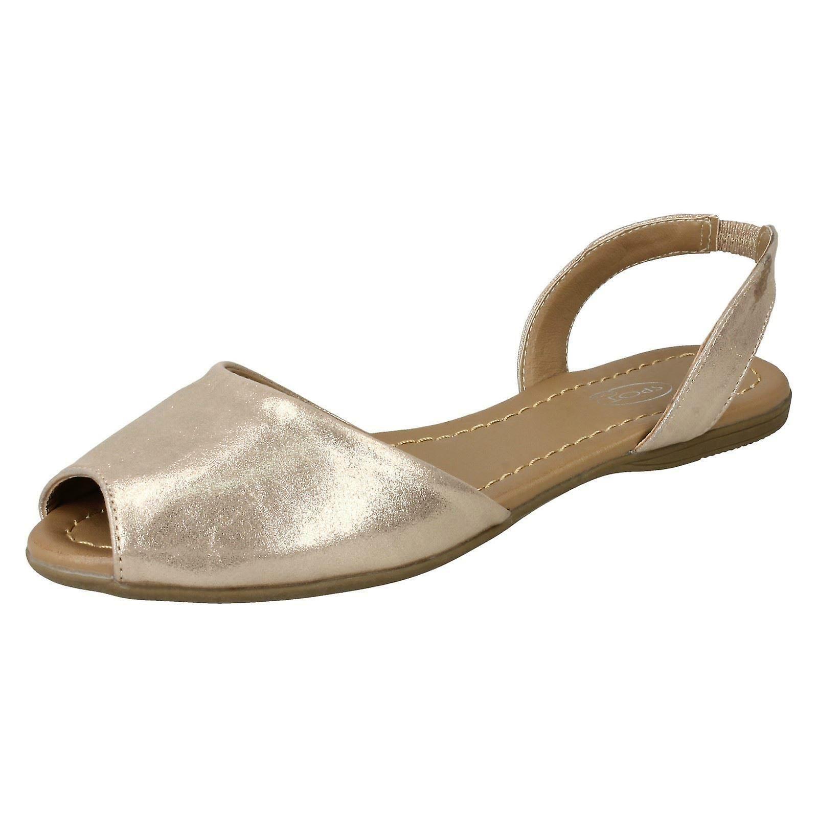 Ladies Spot On Flat Slingback Mule Sandals F00152 - Light Gold Metallic Foil - UK Size 5 - EU Size 38 - US Size 7