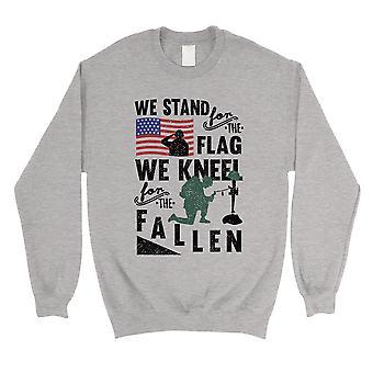 We Stand We Kneel Unisex Crewneck Sweatshirt American Veteran Gift