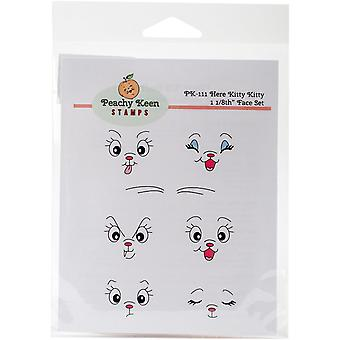 Peachy Keen Stamps Clear Face Assortment 7/Pkg-Here Kitty Kitty