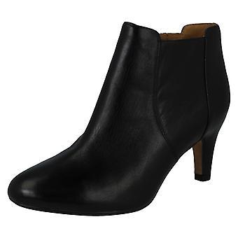 Damer ankelstøvler Clarks - Lily Bordeaux - sort læder - UK størrelse 5,5 D - EU Str. 39 - US størrelse 8M
