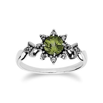 Gemondo Sterling Silver Peridot & Marcasite August Art Deco Ring