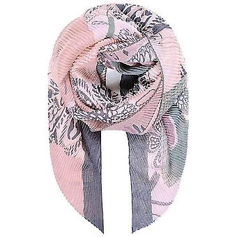 Intrigue Floral Print Pleated Scarf - Pink