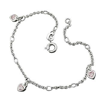 Anchor chain silver 925 pink zirconia heart bracelet