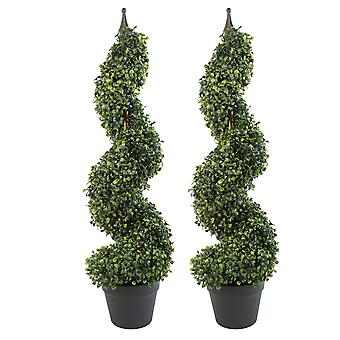 Pair of 90cm (3ft) Tall Artificial Boxwood Tower Trees Topiary Spiral Metal Top