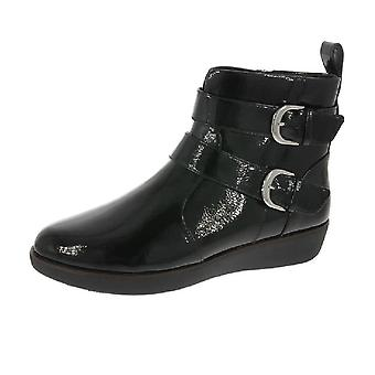 FitFlop Laila Double Buckle Crinkle Patent Boots