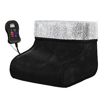Black Electric Heated Foot Massager Comfort Warmer Fleece Suede Comfort Feet
