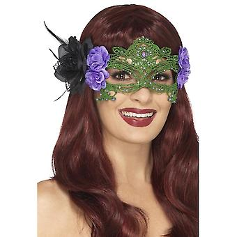 Embroidered Lace Filigree Witch Eyemask, Black & Green, with Roses