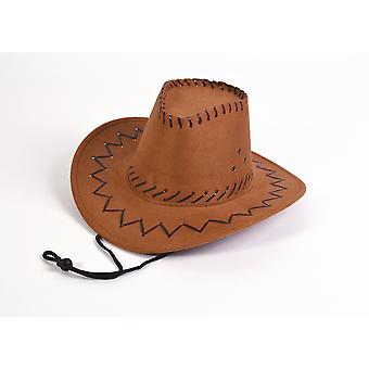 Cowboy Hat.Leather Stitched. Brown, Childs
