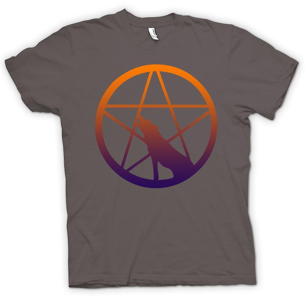 Mens t-shirt-lupo che ulula di Pentagram