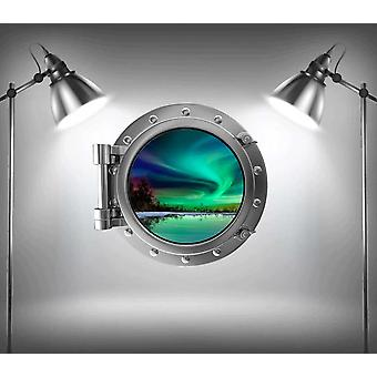 Full Colour Northern Light Cruise Ship Porthole Wall Sticker
