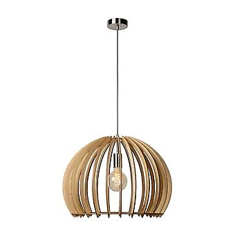 Lucide Bounde Scandinavian Round Wood Wood And Chrome Pendant Light