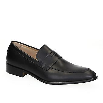 Mens penny loafers black calf leather made in Italy