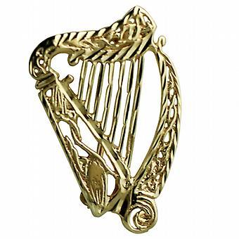 9ct Gold 29x19mm diamond cut Irish Harp Brooch