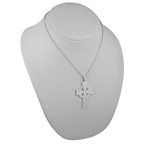Silver 50x36mm hand engraved Celtic Cross with bail on a cable Chain 18 inches