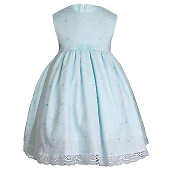 Embroidered Flower Design Baby Girls Mint Green Dress
