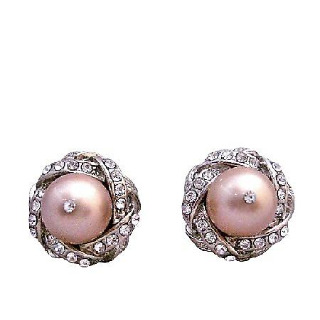 Rose Swarovski Pearl Surrounded w/ Cubic Zircon Stud Post Earrings