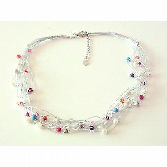 Mångfärgade pärlor accent i Multi strandsatta Silkestråd halsband 46e66c69ef586