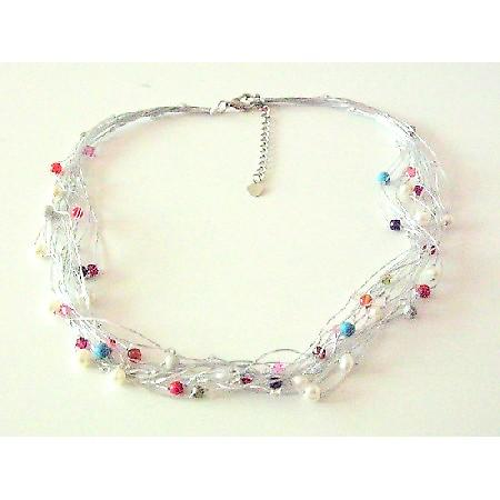 Multicolored Beads Accented In Multi Stranded Silk Thread Necklace