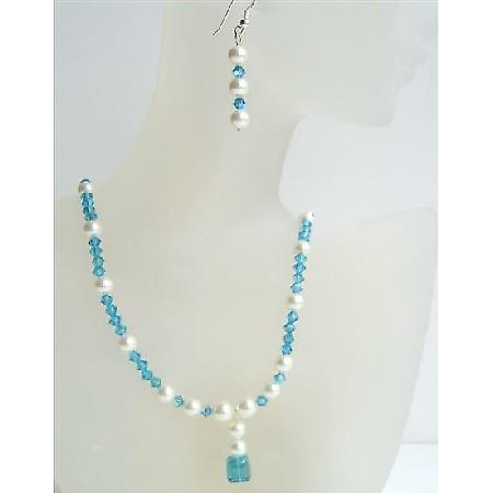 Swarovski Indicolite Crystal White Pearls Sterling Silver Earrings Set