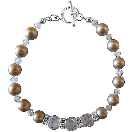 Champagne Pearls Clear Crystals Bracelet Bridal w/ Diamond Spacer