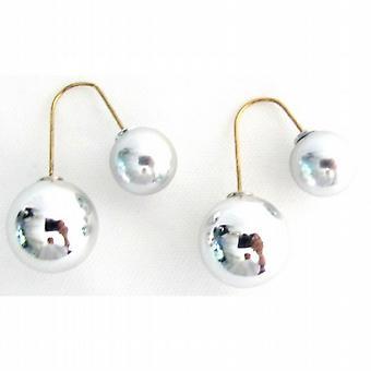 Silver dubbelsidig bollen örhängen dinglande parallell