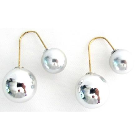 Silver Double Sided Ball Earrings Dangling Parallel