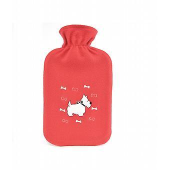 Applique Scottie Dog Red Fleece 2L Hot Water Bottle
