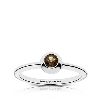 Us Navy - Forged By The Sea Engraved Light Smokey Quartz Ring