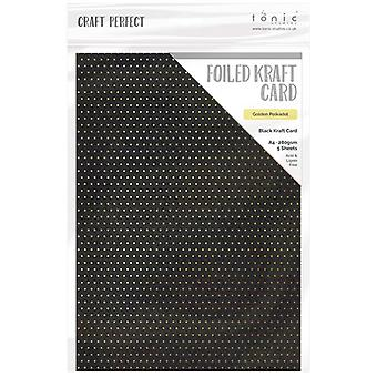 Craft Perfect by Tonic Studios A4 Foiled Craft Card Golden Polkadot