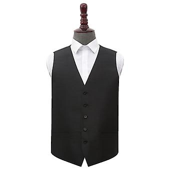 Black Shantung Wedding Waistcoat