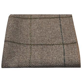 Luxe Peanut Brown Herringbone Check zak plein, zakdoek, Tweed