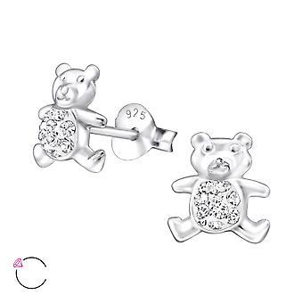 Bear - 925 Sterling Silver Crystal Ear Studs - W24684X