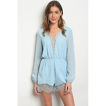 Womens sky blue lace romper