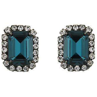 Kenneth Jay Lane Montana Blue Crystal Rectangular Clip On Earrings