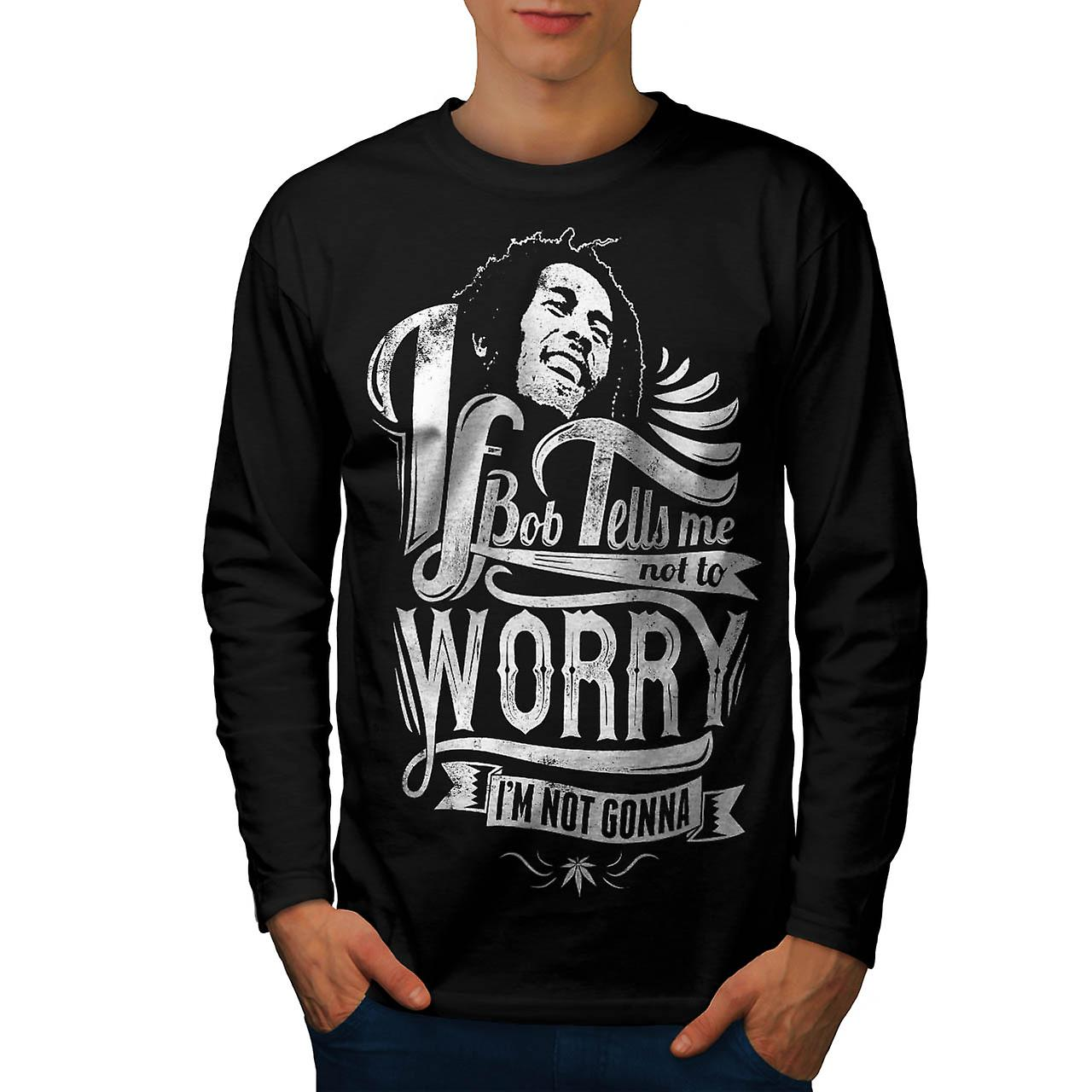 Bob Marley Dont Worry Rasta Song Men Black Long Sleeve T-shirt | Wellcoda