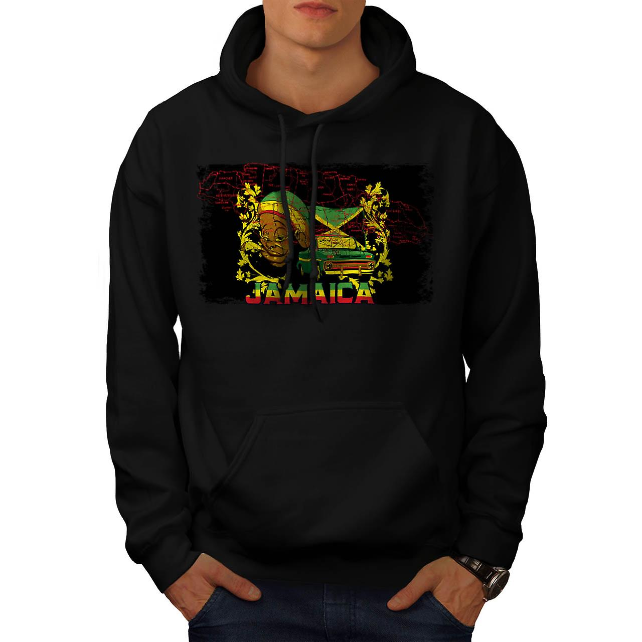 Jamaica Rasta Mobile Carribean Men Black Hoodie | Wellcoda