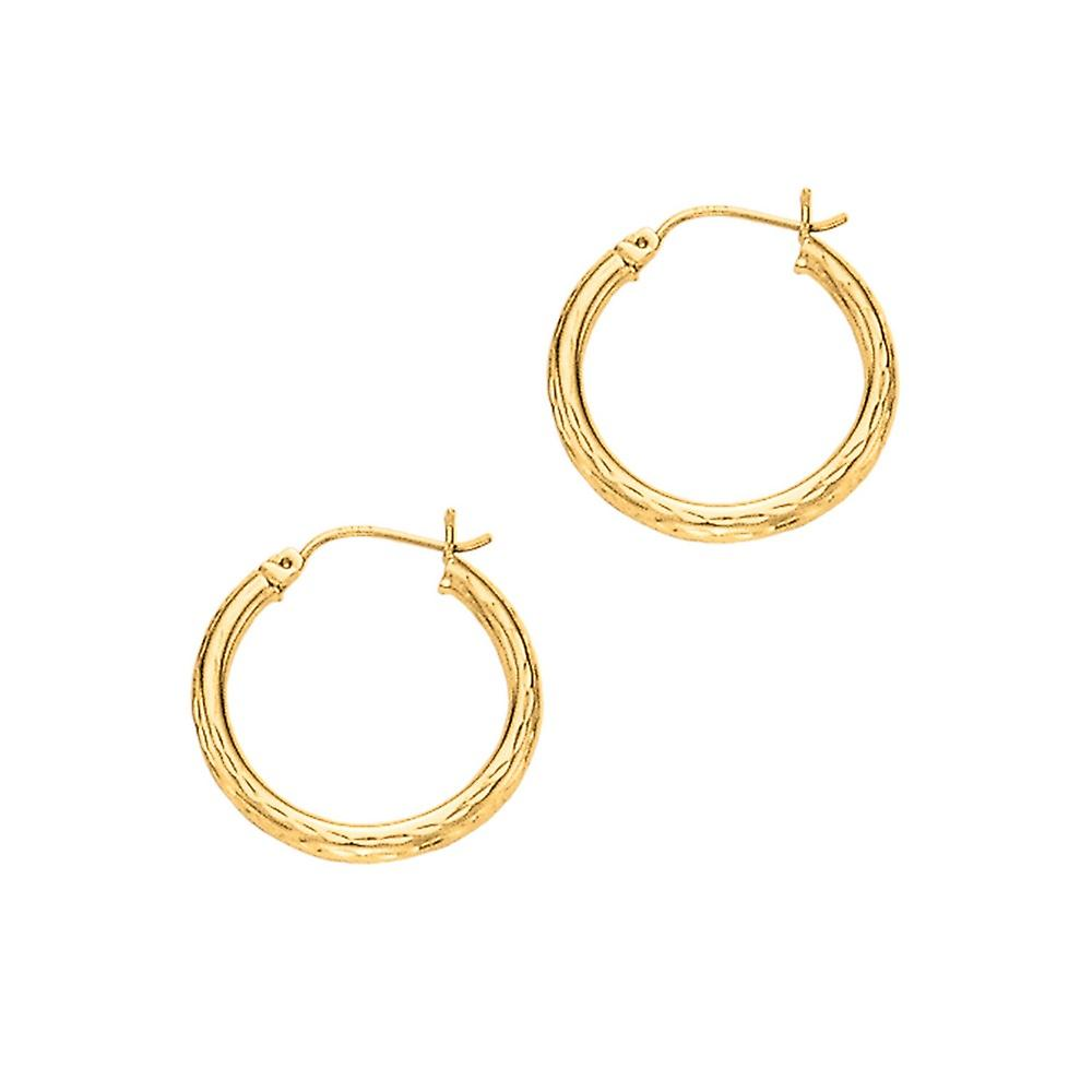 14k jaune or 3x25mm Shiny Sparkle-Cut Round Tube Design Hoop Earrings With Hinged Clasp