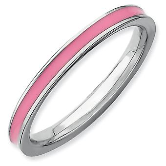 Sterling Silver Stackable Expressions Pink Enameled 2.25mm Ring - Ring Size: 5 to 10