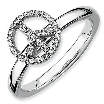 Sterling zilveren stapelbare expressies vrede symbool Diamond Ring - Ringmaat: 5 tot 10